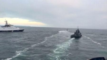 Ukrainian ships are detained in Kerch Strait in this still image from video released by Russian Federal Security Service