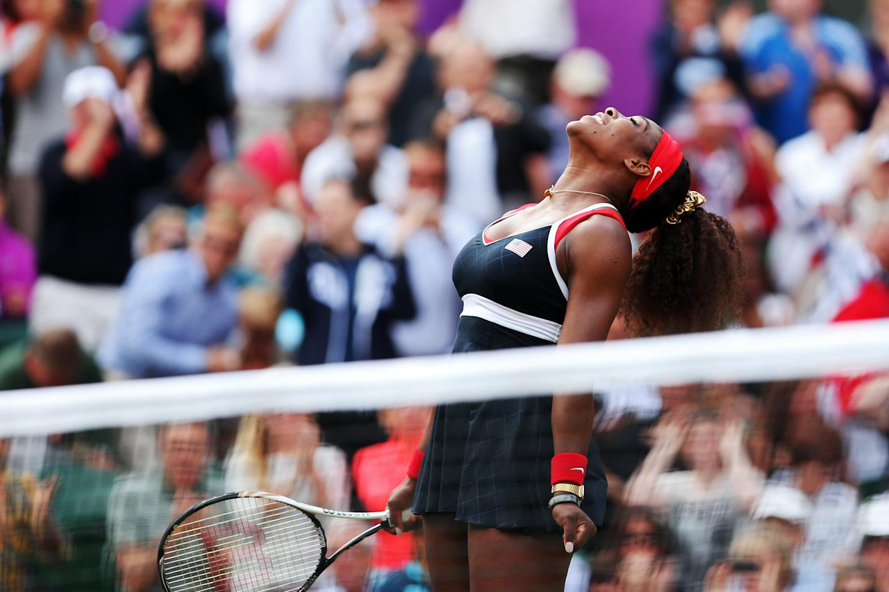 LONDON, ENGLAND - AUGUST 04:  Serena Williams of the United States reacts after defeating Maria Sharapova of Russia to win the gold medal match of the Women's Singles Tennis on Day 8 of the London 2012 Olympic Games at the All England Lawn Tennis and Croquet Club on August 4, 2012 in London, England.  (Photo by Clive Brunskill/Getty Images)
