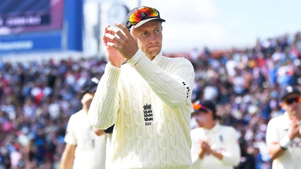 Joe Root (pictured) leading his team on to the field.