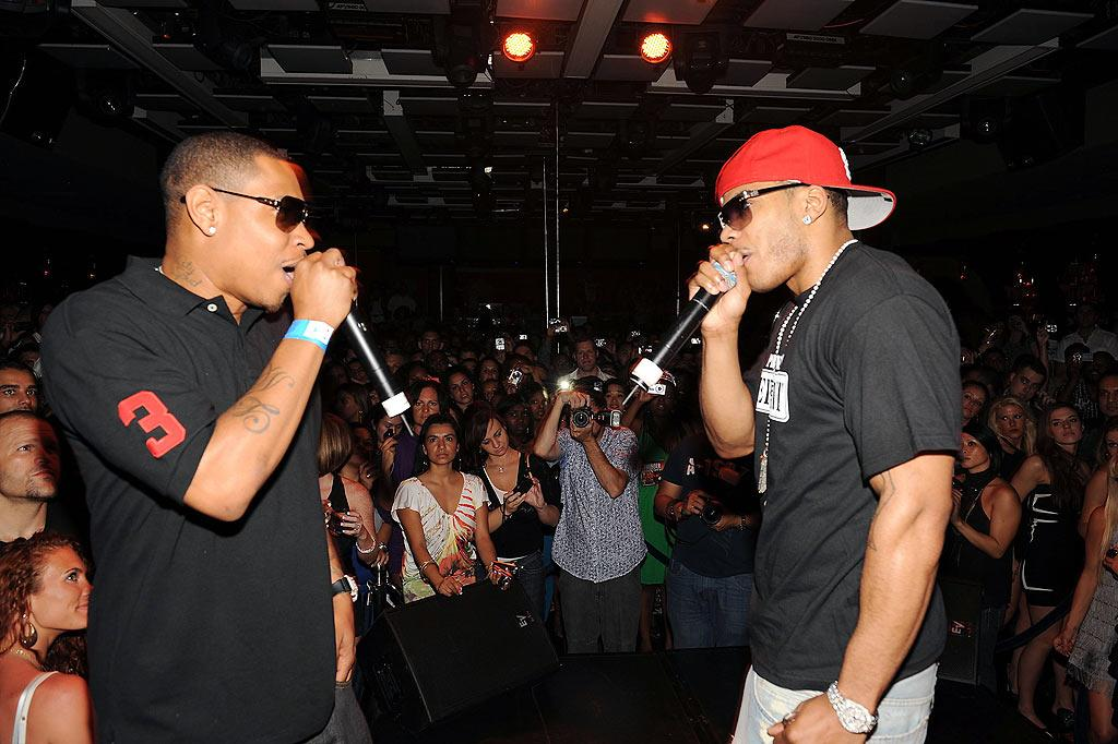 """Nelly is joined by the St. Lunatics' City Spud, who was featured on his hit """"Ride Wit Me."""" Denise Truscello/<a href=""""http://www.wireimage.com"""" target=""""new"""">WireImage.com</a> - July 6, 2009"""