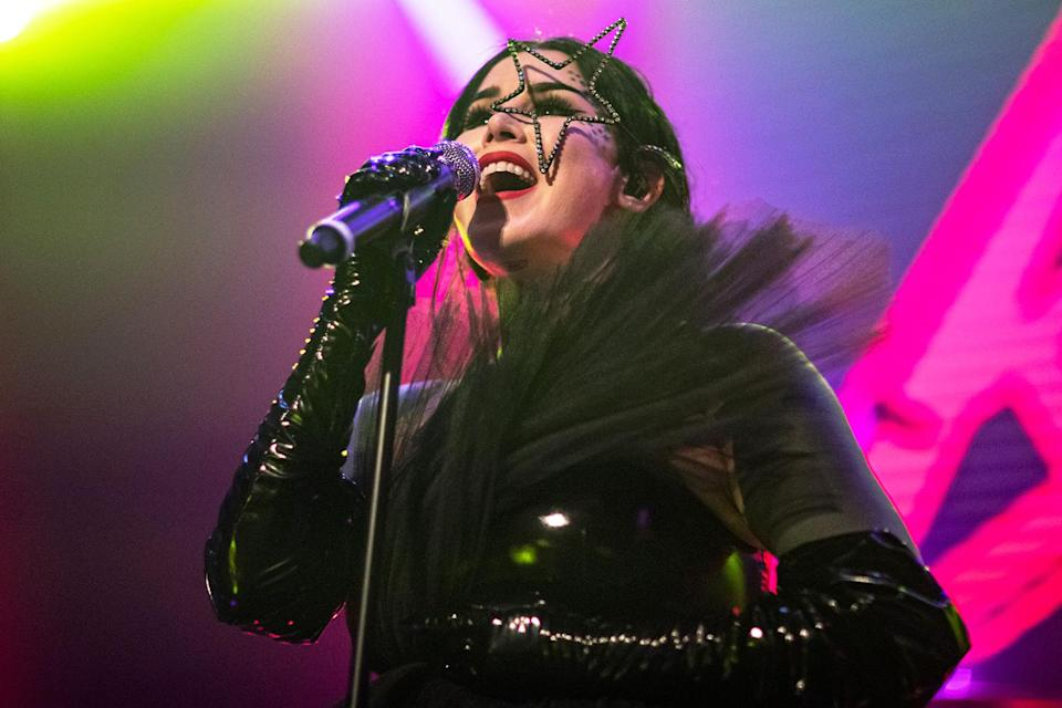 <p>Kat Von D rocks the mic in all-black at her record release party in Los Angeles.</p>
