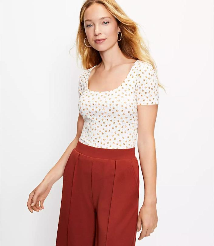 <p>This <span>Loft Clover Ribbed Baby Tee</span> ($40, plus 40 percent off with code WOW) has a ribbed finish that gives it a cozy texture. It's perfect for weekends or weekdays when you want to feel light and easygoing.</p>