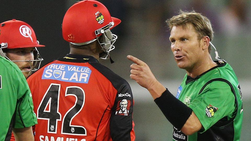 Marlon Samuels and Shane Warne, pictured here during a Big Bash game in 2013.