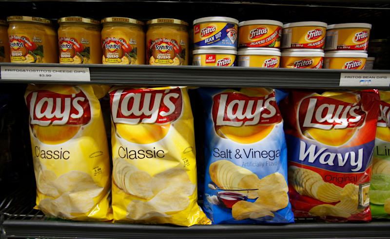 Pepsico product Lays potato chips on display at a grocery store in Palo Alto, Calif., Wednesday, Oct. 6, 2010. (AP Photo/Paul Sakuma)