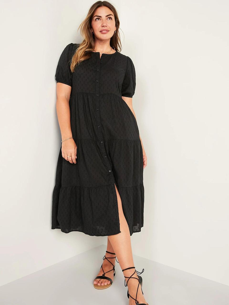 <p>This long-yet-lightweight <span>Old Navy Puff-Sleeve Clip-Dot Button-Front Midi Swing Dress</span> ($45) is a solid pick for summer nights and warm fall days. The flowy silhouette, accentuated by the tiered hem, makes it stand out.</p>