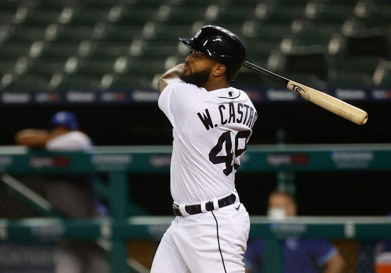 Detroit Tigers shortstop Willi Castro (49) hits a home run in the sixth inning Sept. 15, 2020 against the Kansas City Royals at Comerica Park.