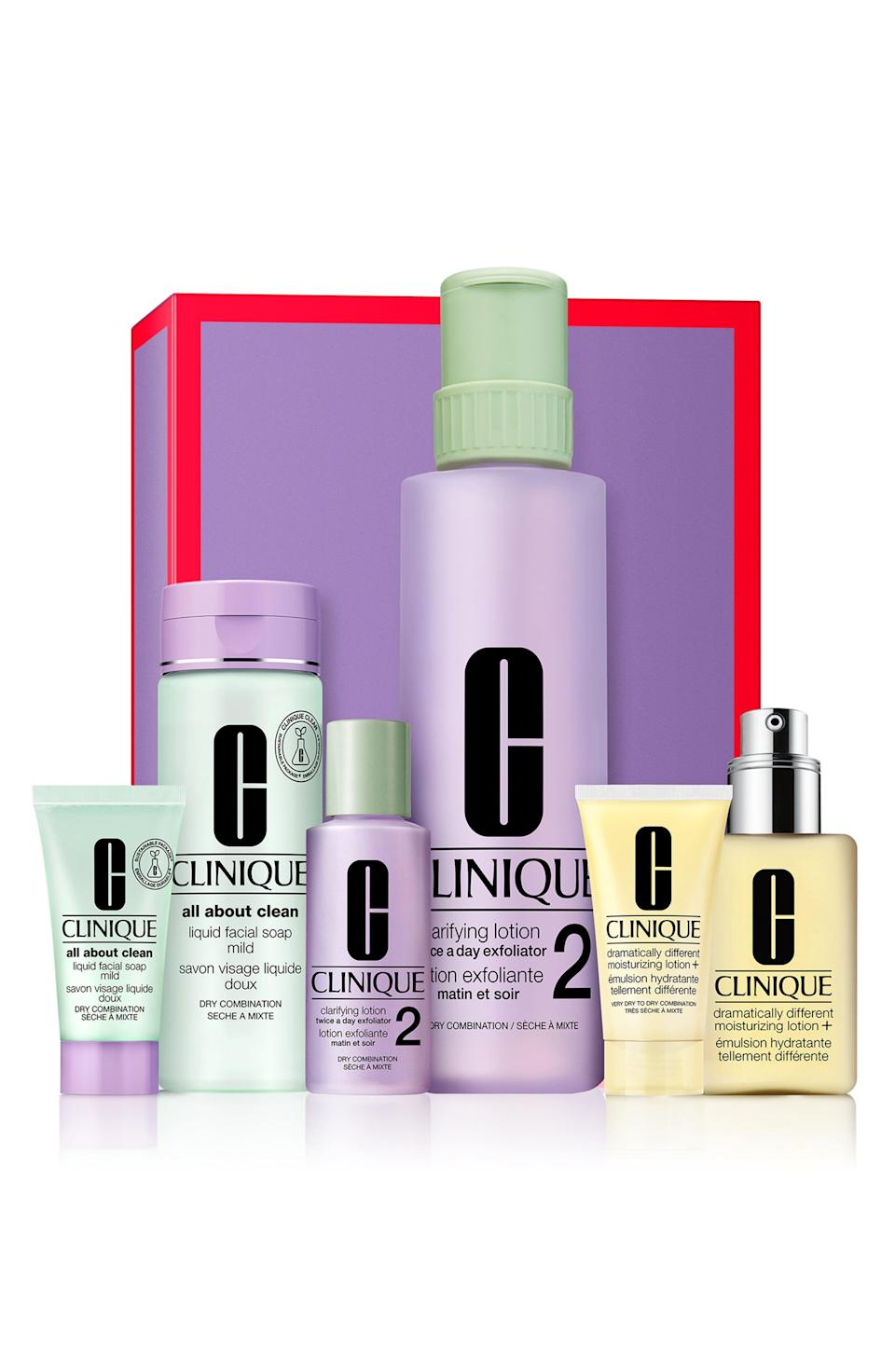"""<p><strong>CLINIQUE</strong></p><p>nordstrom.com</p><p><strong>$40.80</strong></p><p><a href=""""https://go.redirectingat.com?id=74968X1596630&url=https%3A%2F%2Fwww.nordstrom.com%2Fs%2Fclinique-great-skin-everywhere-home-away-set-for-very-dry-to-dry-combination-skin-types-usd-96-50-value%2F5728359&sref=https%3A%2F%2Fwww.marieclaire.com%2Ffashion%2Fg35090742%2Fnordstrom-half-yearly-sale-2020%2F"""" rel=""""nofollow noopener"""" target=""""_blank"""" data-ylk=""""slk:Shop Now"""" class=""""link rapid-noclick-resp"""">Shop Now</a></p>"""