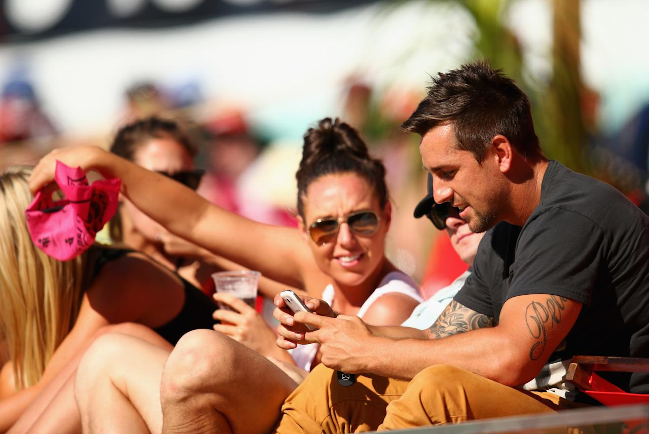 SYDNEY, AUSTRALIA - JANUARY 03: Rugby League player Mitchell Pearce of the Roosters looks on during day one of the Third Test match between Australia and Sri Lanka at Sydney Cricket Ground on January 3, 2013 in Sydney, Australia.  (Photo by Ryan Pierse/Getty Images)