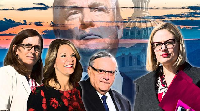 From left: Rep. Martha McSally, Kelli Ward, Joe Arpaio and Rep. Kyrsten Sinema. (Photo illustration: Yahoo News; photos: Bill Clark/CQ Roll Call, Jeff Malet/Newscom via ZUMA Press, Robyn Beck/AFP/Getty Images, AP (2), Getty Images)