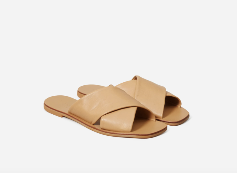 The Day Crossover Sandal in Light Taupe. Image via Everlane.