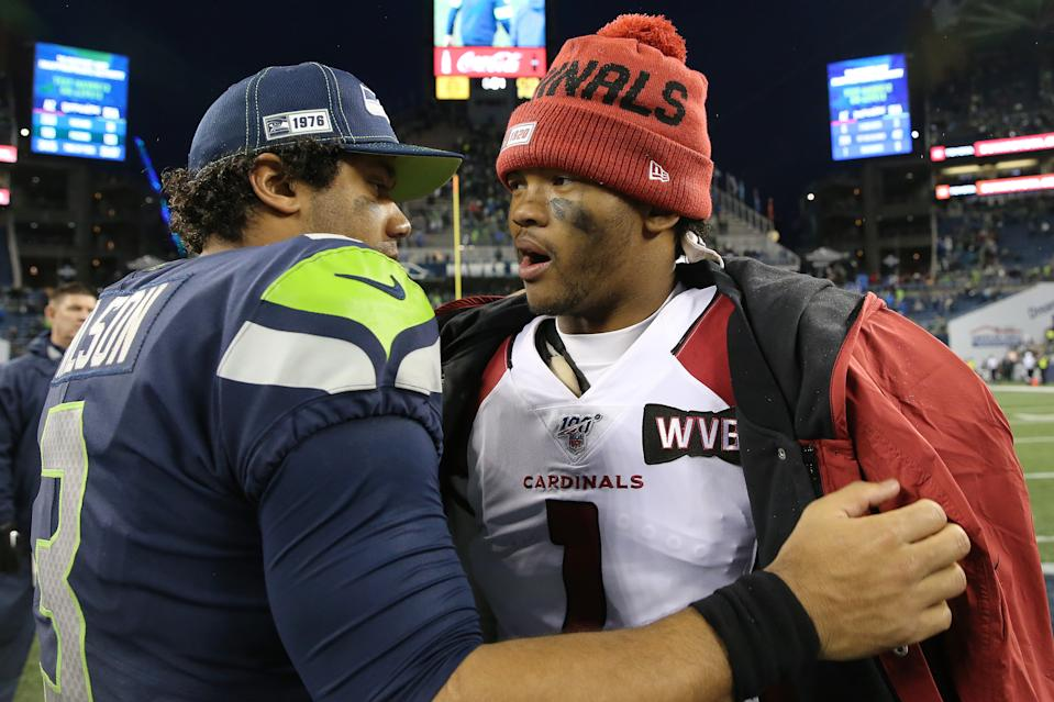 SEATTLE, WASHINGTON - DECEMBER 22: Russell Wilson #3 of the Seattle Seahawks and Kyler Murray #1 of the Arizona Cardinals hug after the Arizona Cardinals defeated the Seattle Seahawks 27-13 during their game at CenturyLink Field on December 22, 2019 in Seattle, Washington. (Photo by Abbie Parr/Getty Images)
