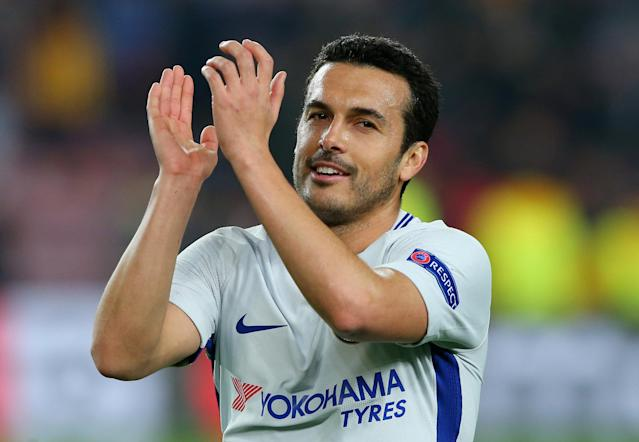 Soccer Football - Champions League Round of 16 Second Leg - FC Barcelona vs Chelsea - Camp Nou, Barcelona, Spain - March 14, 2018 Chelsea's Pedro applauds the fans after the match REUTERS/Albert Gea