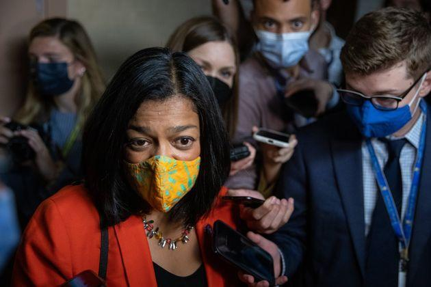 Rep. Pramila Jayapal (D-Wash.), who chairs the Congressional Progressive Caucus is urging Democrats to shy away from cutting out programs from Build Back Better. (Photo: The Washington Post via Getty Images)