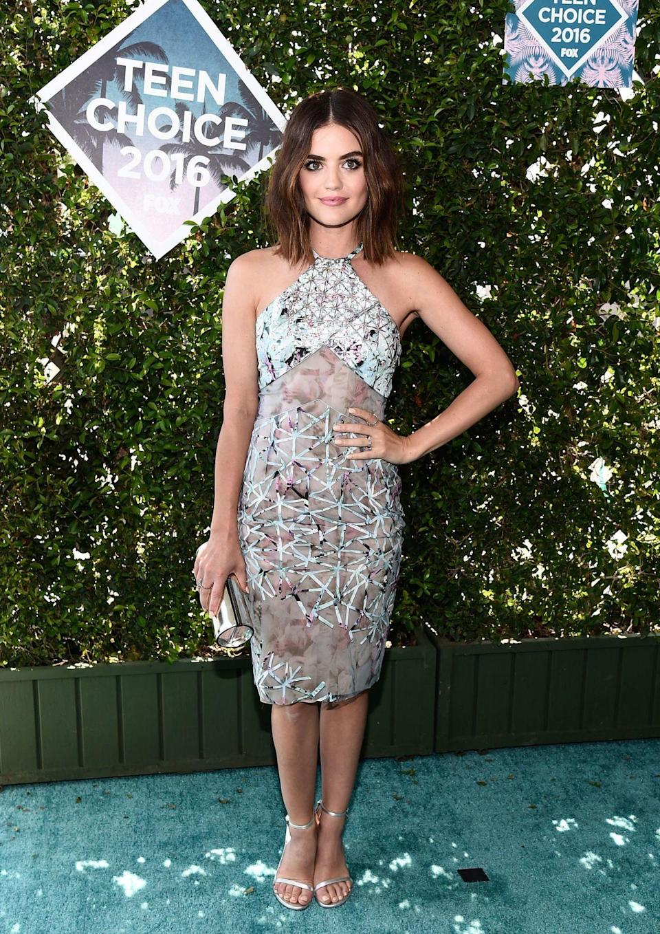<p>The brunette looked heavenly in a Azzaro dress.<i> [Photo: Rex]</i></p>