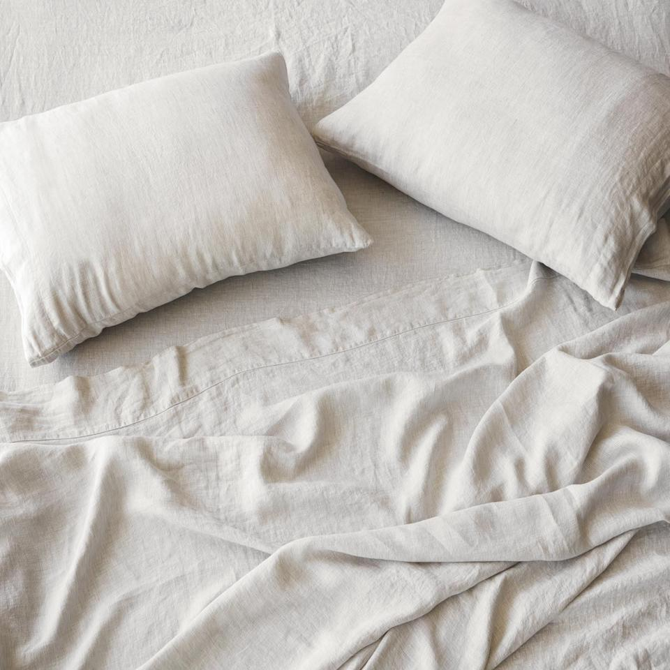 <p>Start out with this <span>The Citizenry Stonewashed Linen Sheet Set</span> ($230), and you won't regret it. I have them in the solid sand shade, and I love the soft, minimal look.</p>