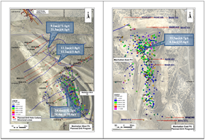 Figure 2: Planned drillholes targeting high-grade mineralization below the West and East pits and northern extension of the West Pit.