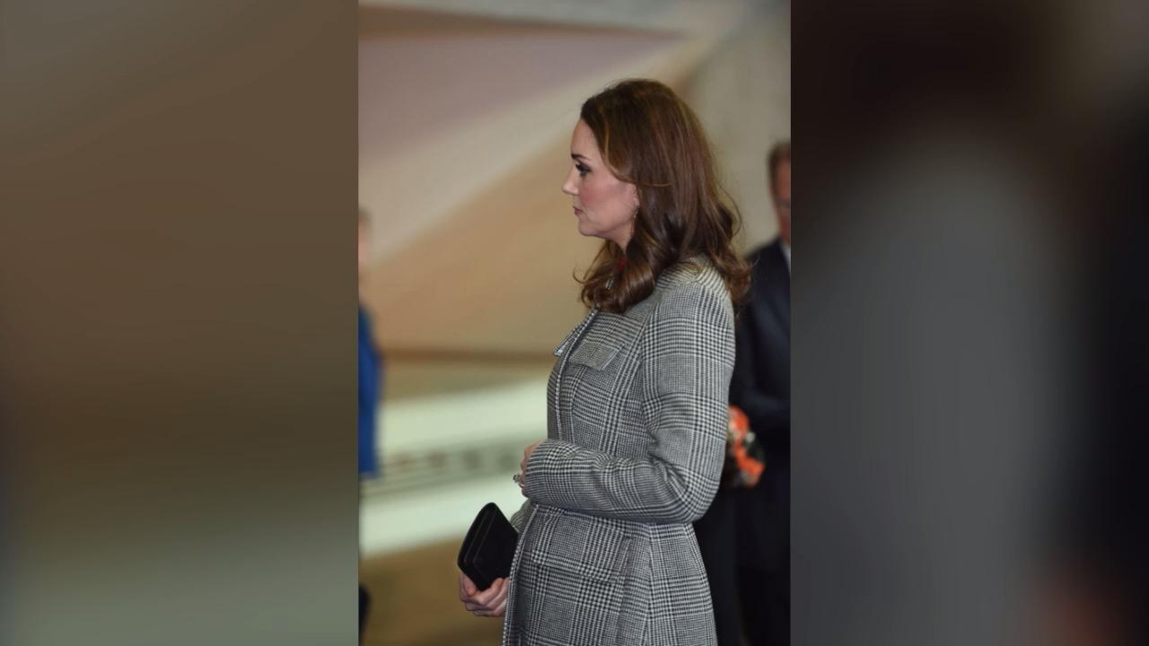 The expectant Duchess joined husband, Prince William, to the Children's Global Media Summit in Manchester, England to advocate for youth mental wellness, wearing a chic houndstooth coat with a belt that clasped right above her burgeoning bump.