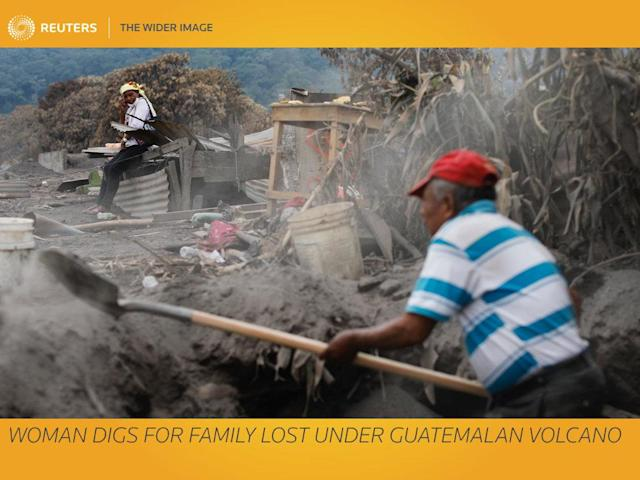 """Eleven days after the Fuego volcano rained down on the Guatemalan village of San Miguel Los Lotes, a backhoe ripped the roof off one of the homes buried by ash, revealing a corpse in the still-hot dust. """"It's my sister Lola,"""" said Eufemia Garcia Ixpata, a 48-year-old fruit vendor who lost dozens of family members in the eruption. Mexican volunteer rescue workers grabbed their shovels and rushed in to recover the body from the rubble and dust. Garcia ran to find a sheet of paper and a marker to prepare a name tag before the body was taken to a grade school that was being used as a makeshift morgue. She had lost her family and her home, and had been sleeping in a school room with other survivors. Reuters photographer Carlos Jasso accompanied her for seven days. REUTERS/Carlos Jasso SEARCH """"EUFEMIA MISSING"""" FOR THIS STORY. SEARCH """"WIDER IMAGE"""" FOR ALL STORIES. TPX IMAGES OF THE DAY. Matching text: GUATEMALA-VOLCANO/MISSING"""