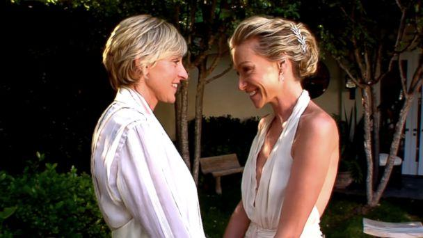 PHOTO: Ellen DeGeneres and Portia de Rossi are pictured in an image made from a video posted to YouTube on Aug. 16, 2018 with the title, 'Revisit Ellen & Portia's Wedding Day on Their 10th Anniversary.' (TheEllenShow/YouTube)