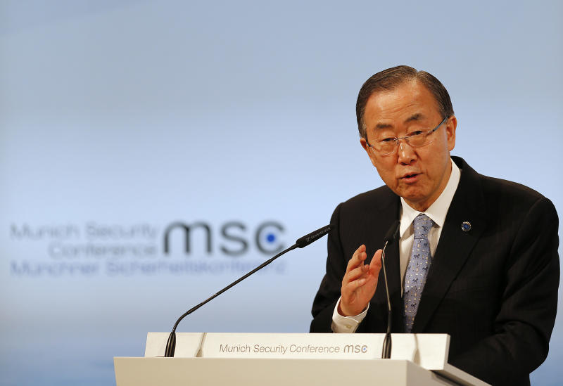 UN Secretary General Ban Ki-moon addresses during the 50th Security Conference in Munich, Germany, Saturday, Feb. 1, 2014. (AP Photo/Frank Augstein)