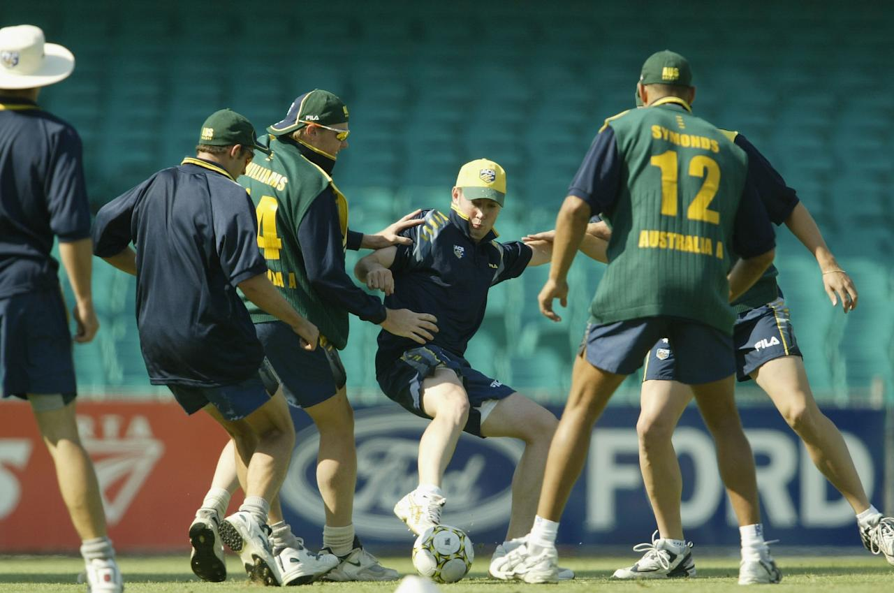 SYDNEY - DECEMBER 7:  Michael Clarke of Australia in action during an Australia A training session at the Sydney Cricket Ground in Sydney, Australia on December 7, 2002. (Photo by Daniel Berehulak/Getty Images)