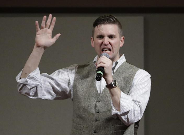 Richard Spencer speaks at the Texas A&M University campus in College Station, Texas in December 2016. (Photo: David J. Phillip/AP)