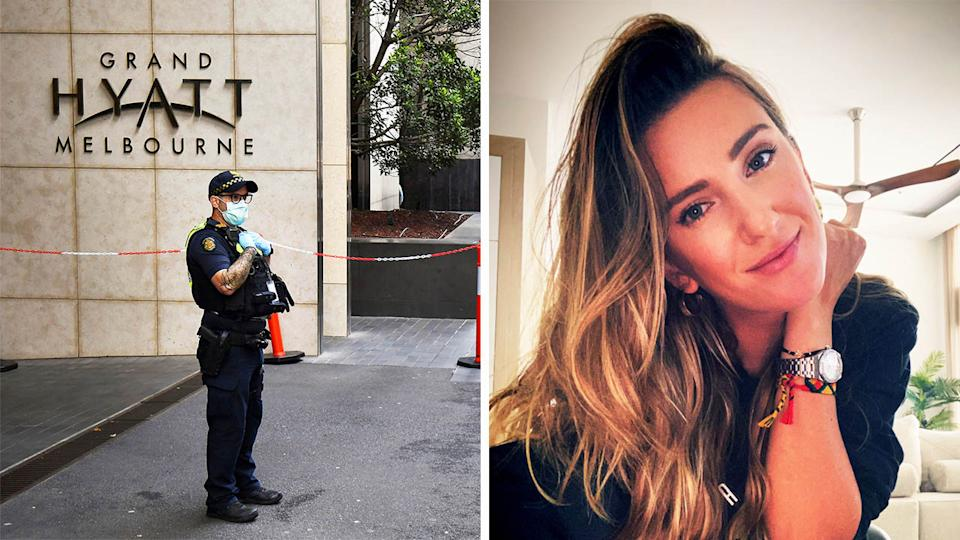 Victoria Azarenka (pictured right) posing for a photo and a police officer in a mask outside the Hyatt (pictured left).