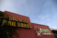 Bail bonds businesses are seen outside the Los Angeles County Men's Jail in Los Angeles