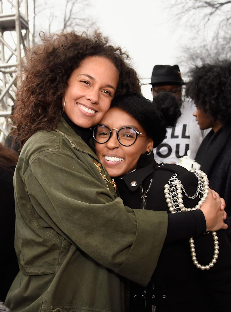 Alicia Keys and Janelle Monae attend the rally at the Women's March on Washington, DC.