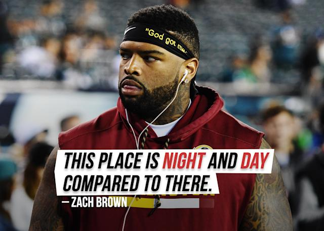"""Eagles linebacker Zach Brown <a href=""""https://sports.yahoo.com/eagles-lb-zach-brown-says-difference-between-philly-and-washington-is-night-and-day-155107573.html"""" data-ylk=""""slk:explains the difference;outcm:mb_qualified_link;_E:mb_qualified_link;ct:story;g:undefined;"""" class=""""link rapid-noclick-resp yahoo-link"""">explains the difference</a> from his former Washington Redskins to the move to Philadelphia."""