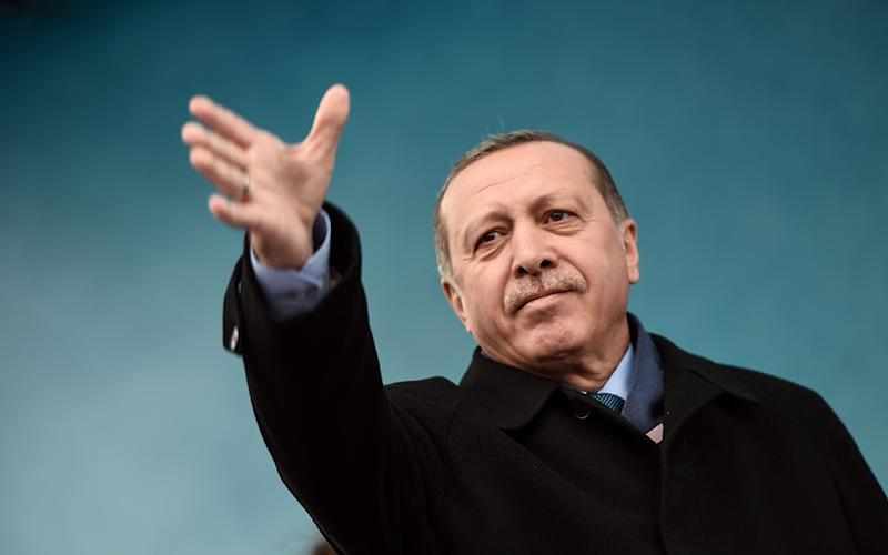 President Recep Tayyip Erdoğan lashed out at Holland as he campaigned for a Yes vote in next month's referendum in Turkey - Credit: AFP PHOTO / OZAN KOSEOZAN KOSE/AFP/Getty Images
