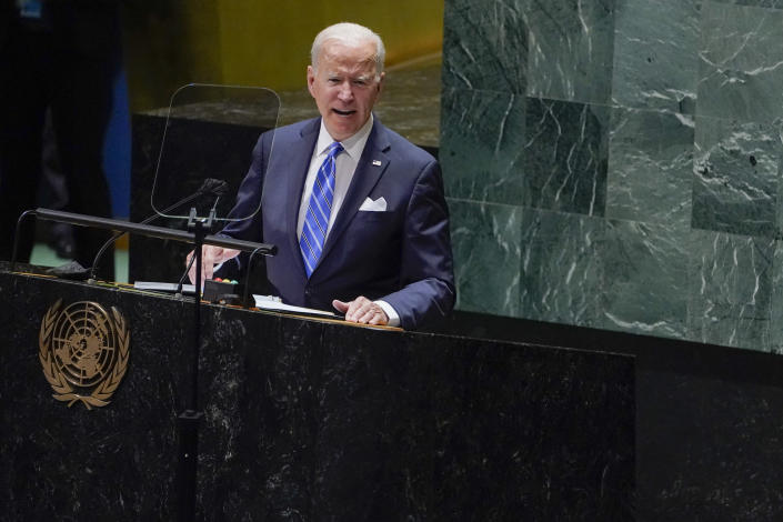 """FILE - In this Sept. 21, 2021, file photo President Joe Biden delivers remarks to the 76th Session of the United Nations General Assembly at the United Nations Headquarters. Biden is set to host the first ever in-person gathering of leaders of the Indo-Pacific alliance known as """"the Quad"""" on Friday, wrapping up a tough week of diplomacy in which he faced no shortage of criticism from both allies and adversaries. (AP Photo/Evan Vucci)"""