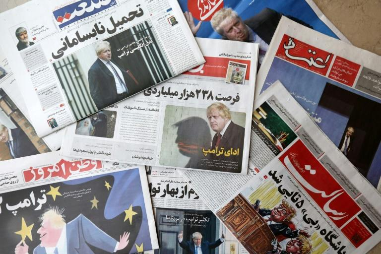 An assortment of Iranian newspapers devoted their front pages to Johnson winning the race to become Britain's next prime minister