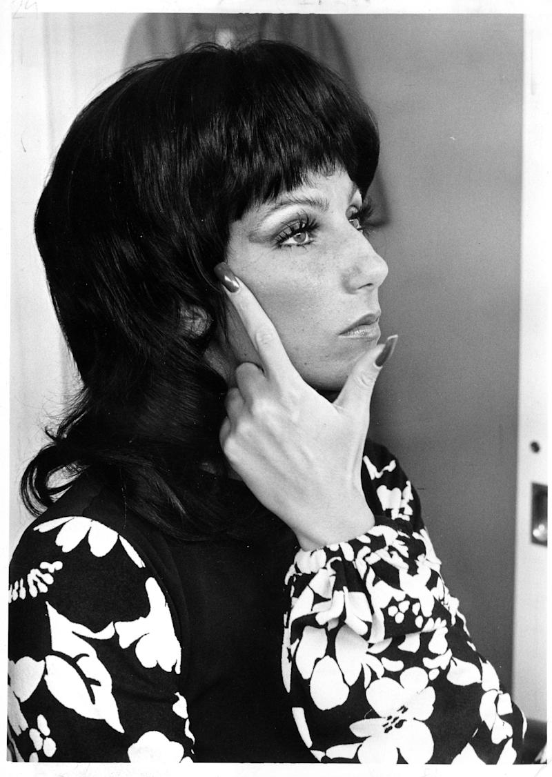 CIRCA 1968: Entertainer Cher gets her makeup done in circa 1968. (Photo by Michael Ochs Archives/Getty Images)