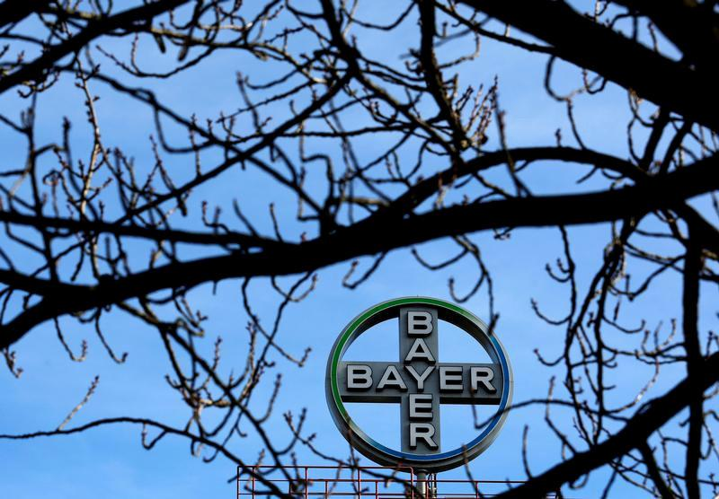 FILE PHOTO: The logo of Bayer AG is pictured at the Bayer Healthcare subgroup production plant in Wuppertal, Germany February 24, 2014. REUTERS/Ina Fassbender/File Photo                     GLOBAL BUSINESS WEEK AHEAD