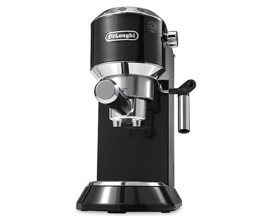 """Get the <a href=""""https://amzn.to/3m4WgfC"""" target=""""_blank"""" rel=""""noopener noreferrer"""">De'Longhi Dedica 5-Bar Pump Espresso Machine on sale for $263</a>(normally $300) at Amazon."""