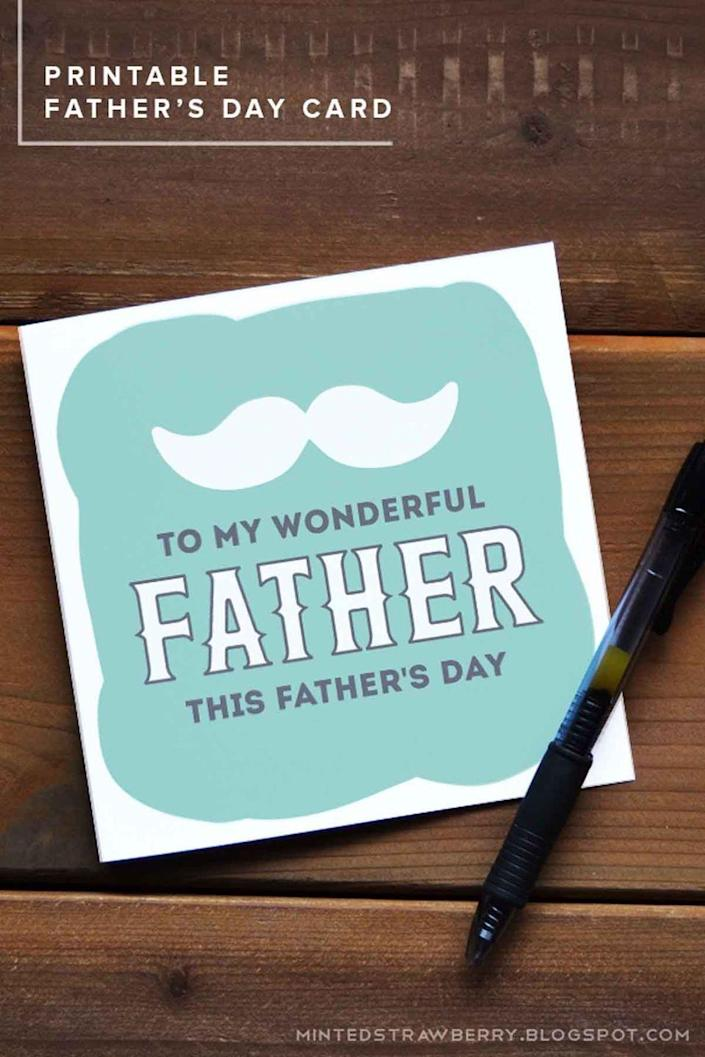 """<p>Keep his card looking sharp with a simple color and design.</p><p><em><strong>Get the printable at <a href=""""http://mintedstrawberry.blogspot.com/2015/06/free-printable-fathers-day-card.html"""" rel=""""nofollow noopener"""" target=""""_blank"""" data-ylk=""""slk:Minted Strawberry"""" class=""""link rapid-noclick-resp"""">Minted Strawberry</a>.</strong></em> </p>"""