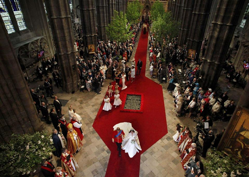 """<p>In lieu of gifts, Kate and William asked for donations to favorite charities. Follow their lead and provide guests a list of organizations. Also, consider a second life for the decor. The English field maples that lined the aisles at Westminster Abbey were replanted at Prince Charles's home in Wales. </p><p>You can donate your wedding flowers to go to hospitals, retirement centers, or other places in need through <a href=""""https://petalsforhope.com/donate-your-flowers/"""" rel=""""nofollow noopener"""" target=""""_blank"""" data-ylk=""""slk:Petals for Hope"""" class=""""link rapid-noclick-resp"""">Petals for Hope</a> and <a href=""""https://randomactsofflowers.org/"""" rel=""""nofollow noopener"""" target=""""_blank"""" data-ylk=""""slk:Random Acts of Flowers"""" class=""""link rapid-noclick-resp"""">Random Acts of Flowers</a>, or search for local organizations in your area. </p>"""