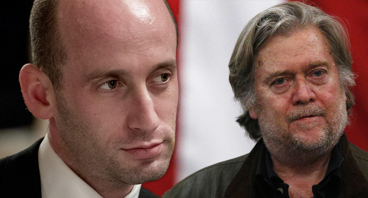 Stephen Miller and Steve Bannon (Photo illustration: Yahoo News; photos: Andrew Harnik/AP, Brynn Anderson/AP)