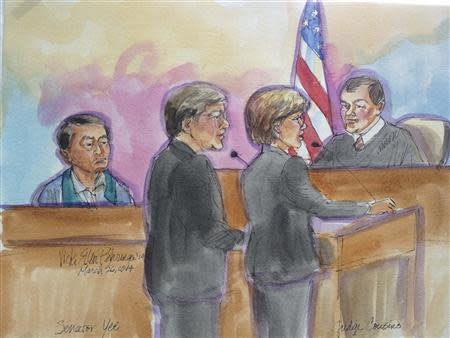 California state senator Leland Yee appears in this courtroom sketch before U.S. Magistrate Judge Nathanael Cousins in San Francisco March 26, 2014. REUTERS/Vicki Behringer