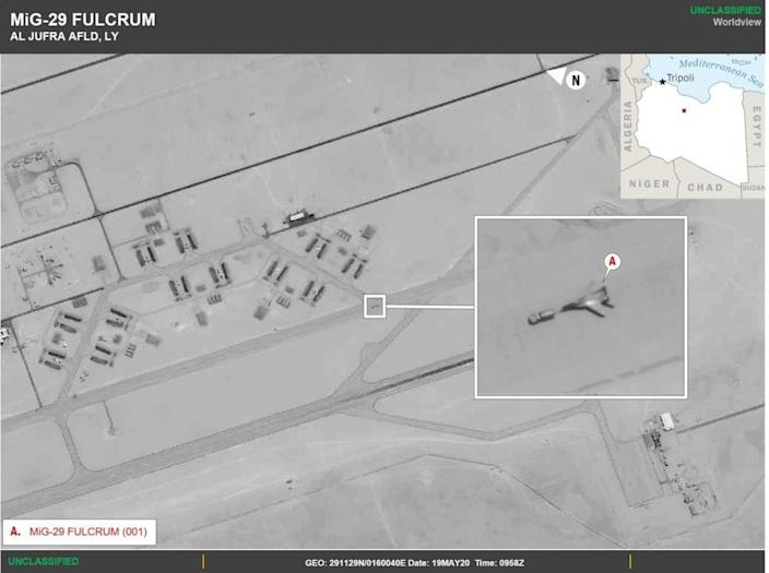 A Russian MiG-29 Fulcrum spotted at Al Jufra Airfield in Libya
