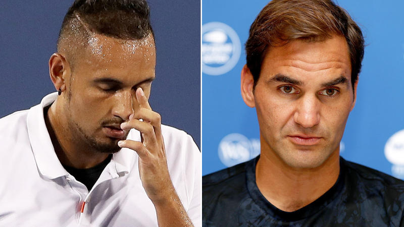 Roger Federer (pictured right) wasn't in the mood to talk about Nick Kyrgios' latest scandal. Image: Getty