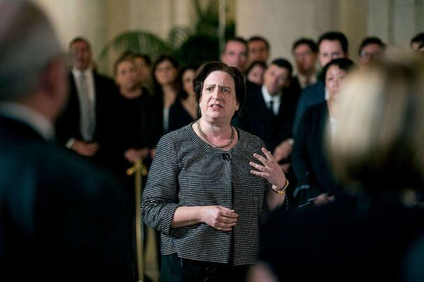 PHOTO: Associate Justice Elena Kagan speaks at a private ceremony in the Great Hall of the Supreme Court in Washington, July 22, 2019, where late Supreme Court Justice John Paul Stevens lies in repose. (Andrew Harnik/AP)
