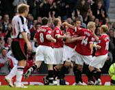 During the game, Luton Shelton latched on to a through-ball and Manchester United's Gabriel Heinze's only cause of action was to scythe him down. Replays suggest that he got nothing on the ball. (17 April 2007)