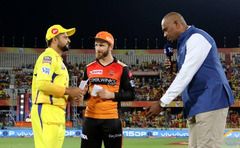 Suresh Raina of Chennai Super Kings and Kane Williamson captain of Sunrisers Hyderabad during the toss of the match 33 of the Vivo Indian Premier League Season 12, 2019 between the Sunrisers Hyderabad and the Chennai Super Kings held at the Rajiv Gandhi Intl. Cricket Stadium, Hyderabad on the 17th April 2019. Photo by: Vipin Pawar /SPORTZPICS for BCCI
