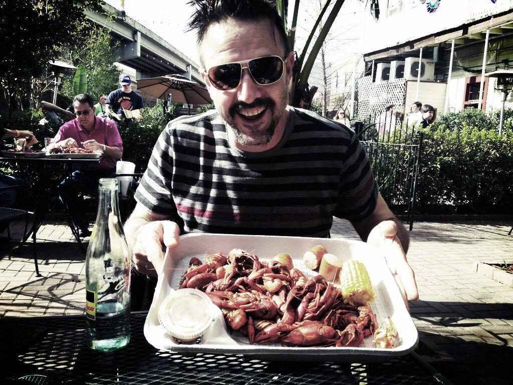 """""""Doing New Orleans the right way"""" tweeted the actor. That can only mean his crawfish lunch will be followed by beignets."""