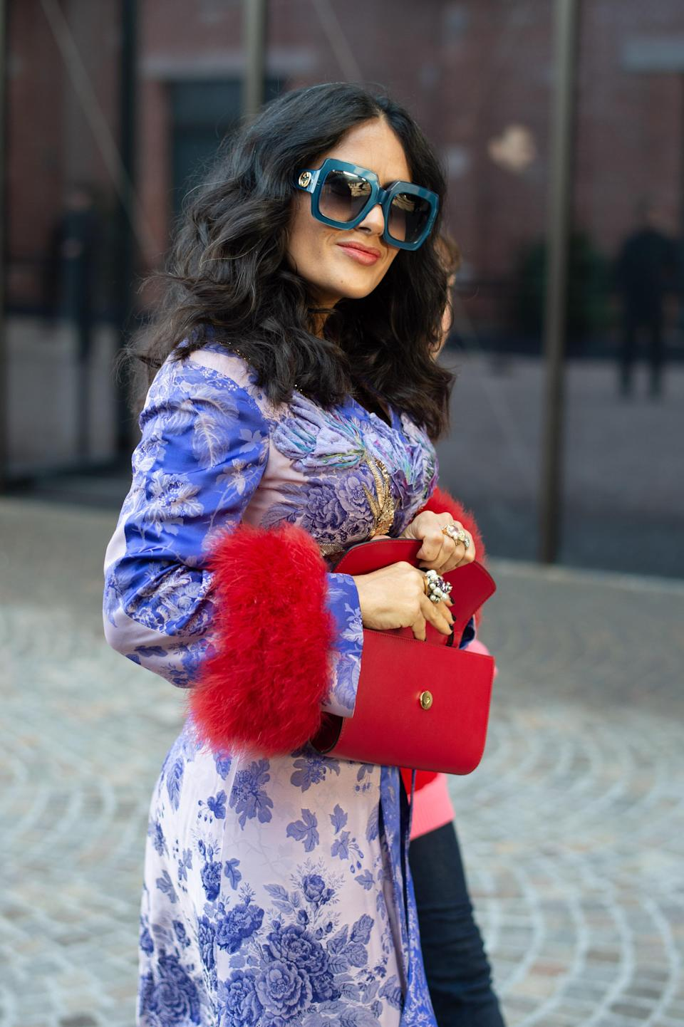 Salma Hayek Pinault attends the Gucci show at Milan Fashion Week Autumn/Winter 2019/20 on February 20, 2019 in Milan, Italy. (Credit: Jacopo Raule/Getty Images)