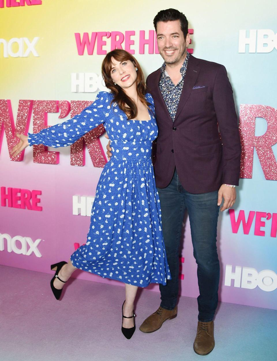 <p>Zooey Deschanel and boyfriend Jonathan Scott are delighted to be at the <em>We Are Here</em> season 2 premiere in L.A. on Oct. 8.</p>