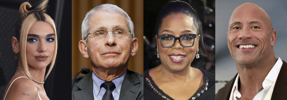 """This combination photo shows singer Dua Lipa, from left, Dr. Anthony Fauci, Oprah Winfrey, and Dwayne """"The Rock"""" Johnson, who are among the winners Tuesday at the Webby Awards, which recognize the best internet content and creators. The Webby Person of the Year went to Fauci for using digital and social media to reach the masses with credible and factual COVID-19 information. (AP Photo)"""