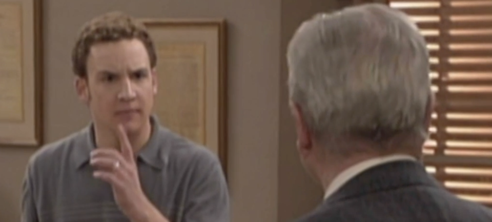 Cory (Savage) recoils when Mr. Feeny (Daniels) uses his real name (Photo: ABC)